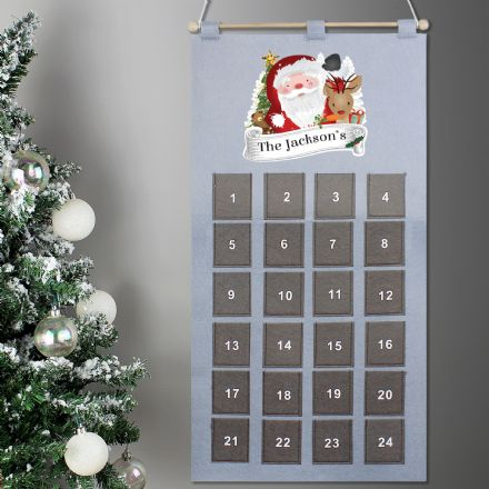 Personalised Santa Claus Grey Felt Advent Calendar